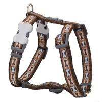 Reddingo Bone Yard Desenli Kahverengi Köpek Göğüs Tasması 15 Mm