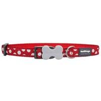 Reddingo Kırmızı Üzerine Beyaz Benek Köpek Boyun Tasması 25 Mm