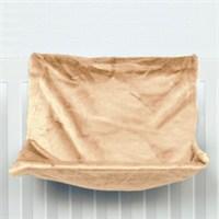 Peluş Radyatör Askılı Kedi Yatak, Bej, 47x30x27 cm kk