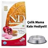 N&D Düşük Tahıllı Tavuklu Ve Narlı Yetişkin Köpek Maması 12 Kg Çelik Mama Ve Su Kabı Hediyeli!
