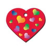 Quick Tag Köpek İsimlik, Kırmızı Kalp Renkli Kalpler, Büyük