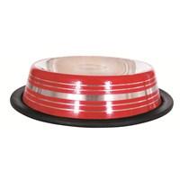 Lion Çelik Mama Kabı(Skid Bowl Stripped 64Oz 1600Ml)Kırmızı