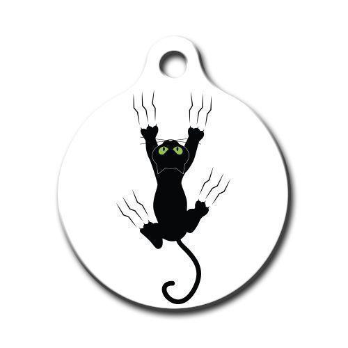 Dalis Pet Tag - Tırmanan Kedi Desenli Yuvarlak Kedi Köpek Künyesi