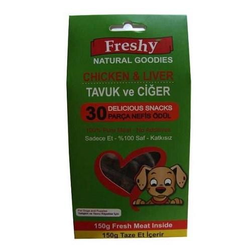 Freshy 30 Parça Tavuk Ve Ciğerli % 100 Doğal Köpek Ödülü 150 Gr