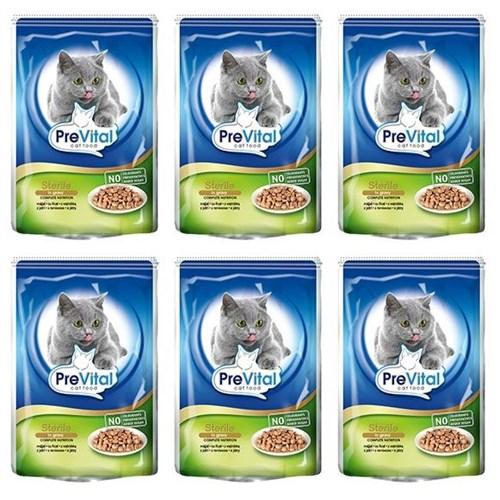 Prevital Sterile Parça Ciğerli Soslu Kısırlaştırılmış Kedi Pouch Poşet 6 X 100 Gr