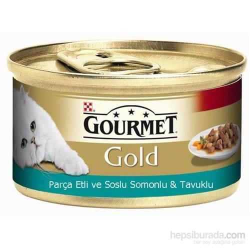 Purina Gourmet Gold Parça etli ve soslu somonlu & tavuklu Konserve Yaş Kedi Maması 85 Gr (1 adet)