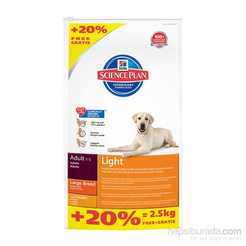 Hill's Science Plan Light Büyük Irk Yetişkin Köpek Maması 14,5 Kg (Adult Light Large Breed with Chicken)