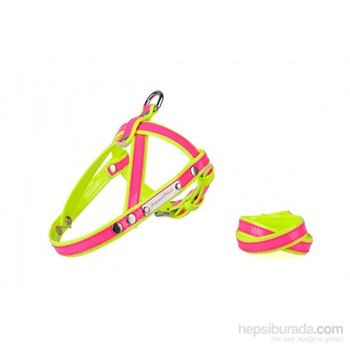 Neon Pembe-Sarı M Göğüs Tasma/Bileklik