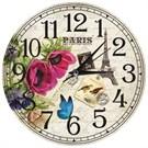 Cadran Retro Vintage Duvar Mdf Duvar Saati Eyfel Kulesi Çiçekler
