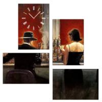 Tictac Design 4 Parça Tablo Saat Red Cafe