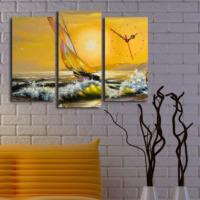 Dekoin 3 Parça Kanvas Saat - Güneş ve Yelkenli
