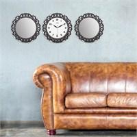 Carven Motifli 2'Li Ayna Ve Duvar Saati Kombin Gri Siyah