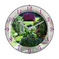 Cadran Bombeli Cam Duvar Saati French Garden