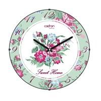 Cadran Luxury Sweet Home Bombeli Cam Duvar Saati Çiçekler