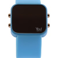 You Watch Light Blue Buttons Unisex Kol Saati