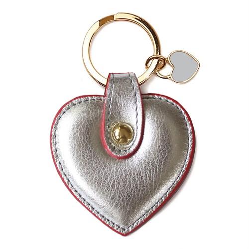 Leather&Paper Gümüş Deri Kalp Anahtarlık