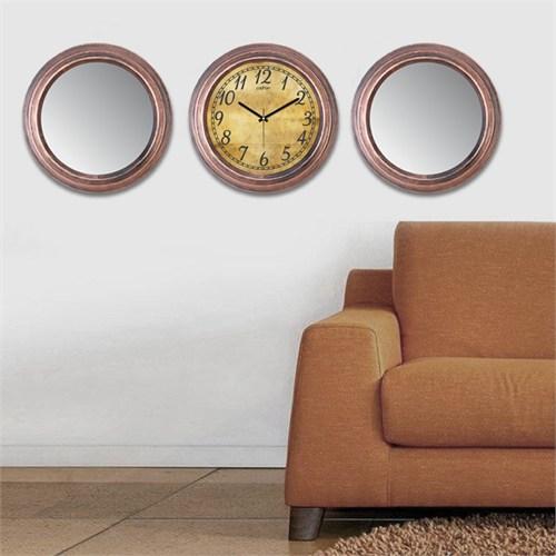 Cadran Home 2'Li Ayna Ve Duvar Saati Set Chas9