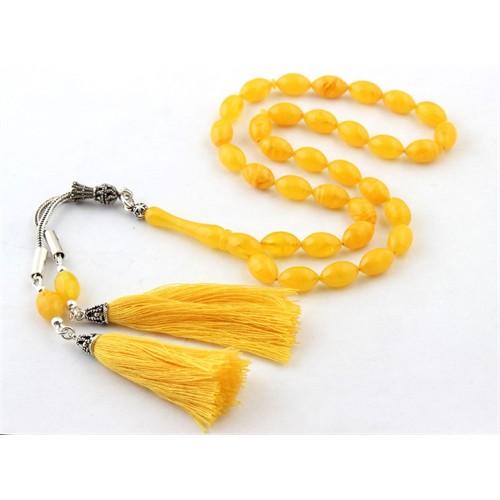 Tesbihevim Özel Yapım Gümüş Püsküllü Sarı Sıkma Kehribar Tesbih