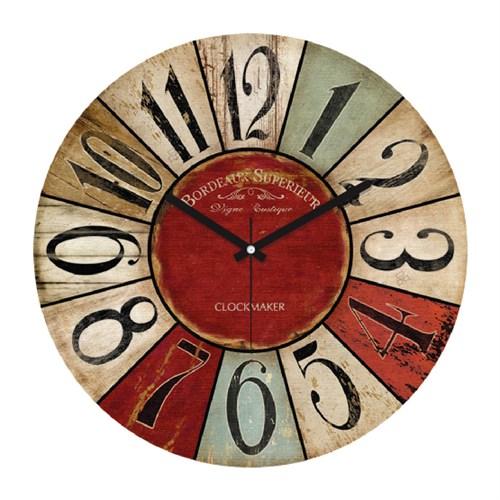 Clockmaker By Cadran Retro Vintage 30X30 Mdf Duvar Saati Cmm164