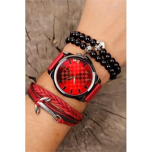 Morvizyon Kırmızı Deri Kordon Tasarımlı Füme Metal Kasa Erkek Saat Ve Bileklik Kombini