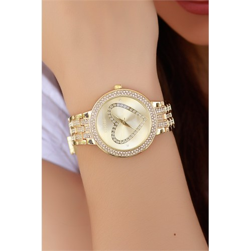 Morvizyon Clariss Marka Sarı Kaplama Renk Metal Tasarım Bayan Saat
