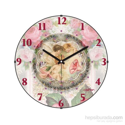 Cadran 120-18 Bombeli Cam Duvar Saati Retro Angels-Rose