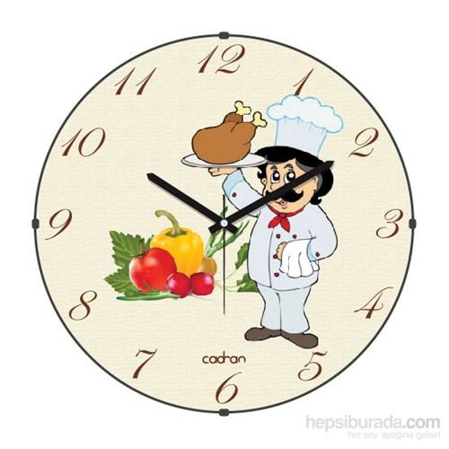 Cadran 180-2 Mutfak Bombeli Cam Duvar Saati Aşçı