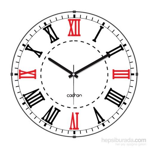 Cadran 110-1 Bombeli Cam Duvar Saati Roma Rakamlı Beyaz
