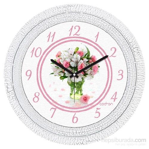 Cadran 1108-40 Dekoratif Vintage Duvar Saati Çatlak Desen Çiçek
