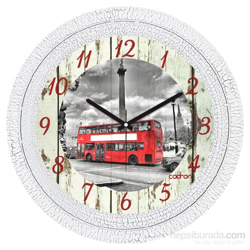 Cadran 1108-82 Dekoratif Vintage Duvar Saati Çatlak Desen Bus