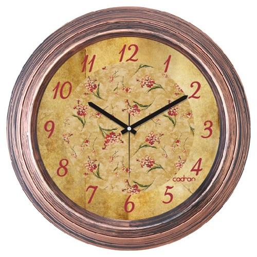 Cadran Dekoratif Vintage Bakır Duvar Saati Çiçekler-2
