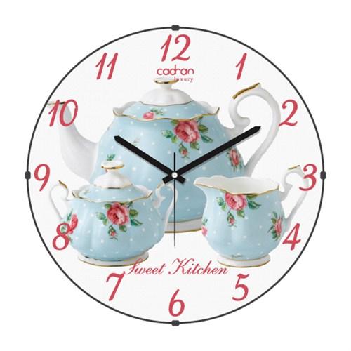 Cadran Luxury Sweet Kitchen Bombeli Cam Duvar Saati Demlikler-2