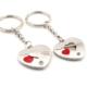 Solfera Kırmızı Mini Kalpler İkili Sallantılı Metal Anahtarlık Kc488