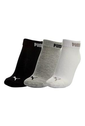 Puma Quarter-V 3P 3'lü Çorap - (Gri-Beyaz-Siyah)