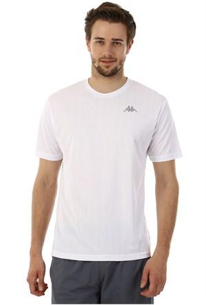 Kappa 1 302Y48 001M Erkek Boyuna Çizgili Poly T-Shirt Beyaz