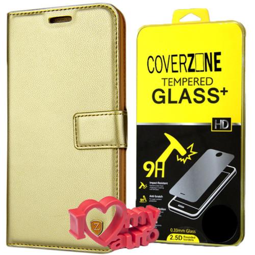 CoverZone Lg G5 Kılıf Kartvizitli Cüzdan Gold + Kırılmaz Cam + 3d Araç Kokusu