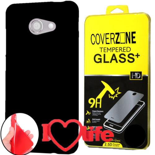 CoverZone Vodafone Smart Ultra 7 Kılıf Silikon Siyah + Kırılmaz Cam + 3d Araç Kokusu