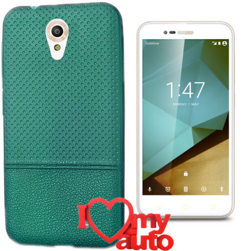 CoverZone Vodafone Smart Style 7 Kılıf Yeşil Dot Silikon Gold + 3d Araç Kokusu