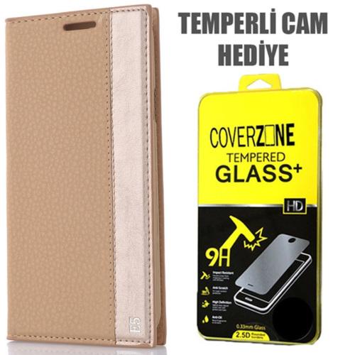CoverZone Samsung Galaxy E5 Kılıf Kapaklı Magnum Gold + Temperli Cam