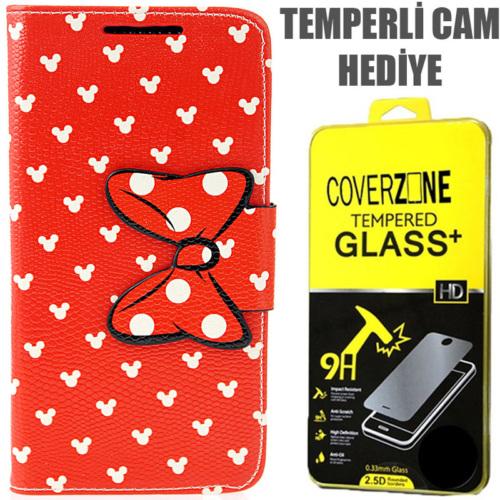 CoverZone HTC Desire 816 Kılıf Kurdaleli Kapaklı + Temperli Cam