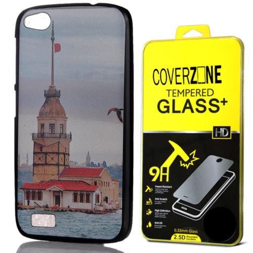 CoverZone General Mobile Discovery Kılıf Kız Kulesi Arka Kapak + Temperli Cam