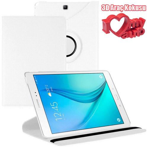 CoverZone Samsung Galaxy Tab A T350 Kılıf Beyaz + 3d Araç Kokusu + 3d Araç Kokusu