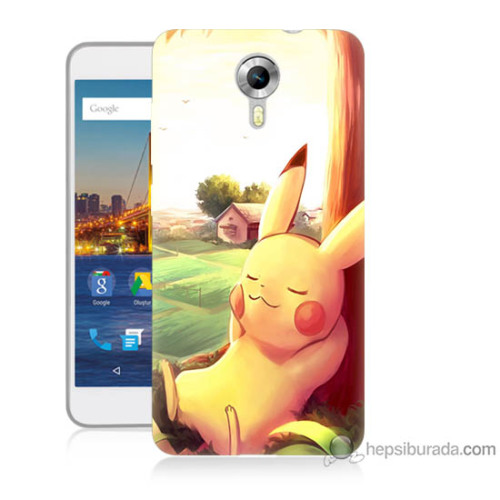Bordo General Mobile Discovery 4g Andorid One Kapak Kılıf Pokemon Doğa Baskılı Silikon
