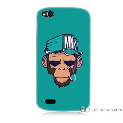 Bordo General Mobile Discovery Kapak Kılıf Sakallı Maymun Baskılı Silikon