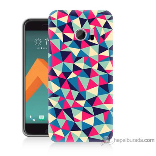 Bordo Htc 10 Kapak Kılıf Renkli Üçgenler Baskılı Silikon