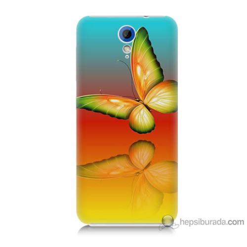 Bordo Htc Desire 620 Kapak Kılıf Sarı Kelebek Baskılı Silikon