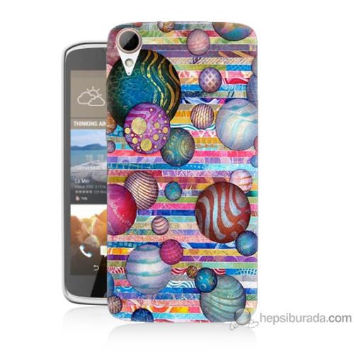 Bordo Htc Desire 828 Kapak Kılıf Renkli Toplar Baskılı Silikon