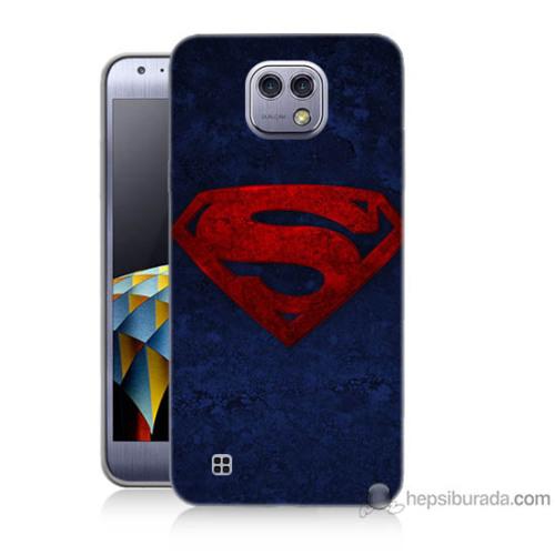 Bordo Lg X Cam Kapak Kılıf Süpermen Baskılı Silikon