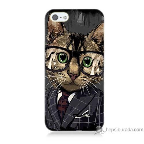 Bordo iPhone 5s Kapak Kılıf Çalışan Kedicik Baskılı Silikon
