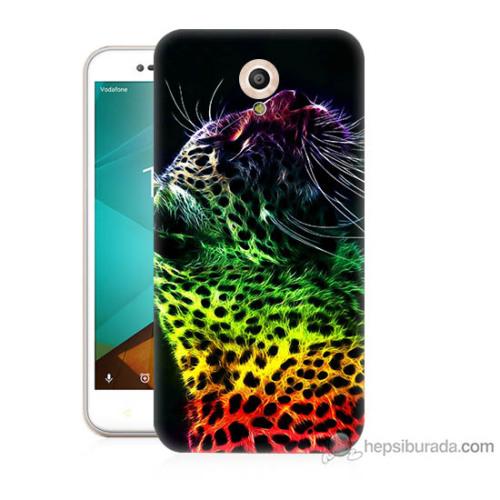 Bordo Vodafone Smart Style 7 Kapak Kılıf Renkli Leopar Baskılı Silikon